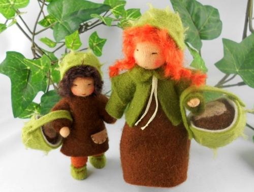 Kastanienkinder für den Jahreszeitentisch - Mutter/Tochter