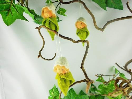 1 Frühlingsknospe, weiß zum Aufhängen Osterdeko